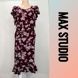 🆕Max Studio 🚺 Floral Ruffle Belted Maxi Dress